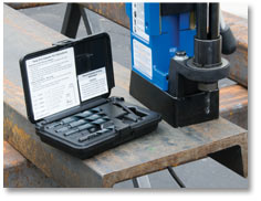 Hougen Twist Drill Adapter kit for making small holes using a magnetic drill -shown in the arbor